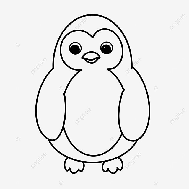 chubby penguin clipart black and white