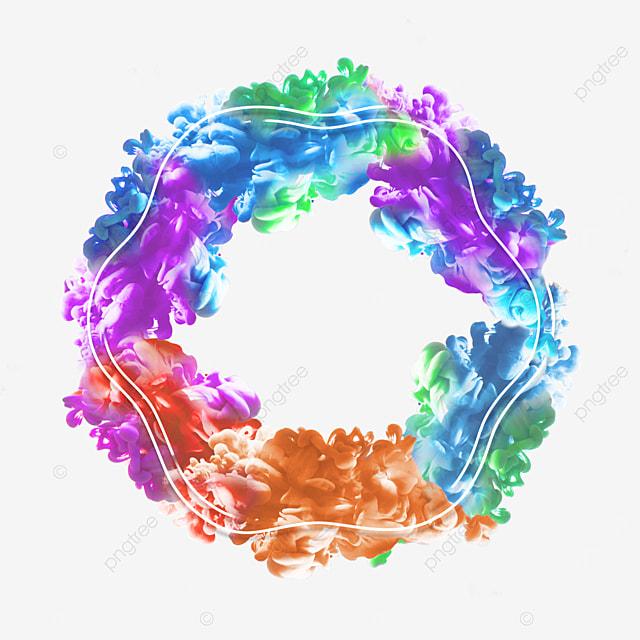 colorful smoke geometric abstract border
