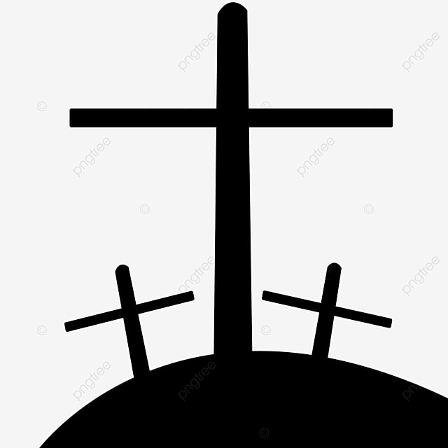 combination worship cross black and white lineart clipart