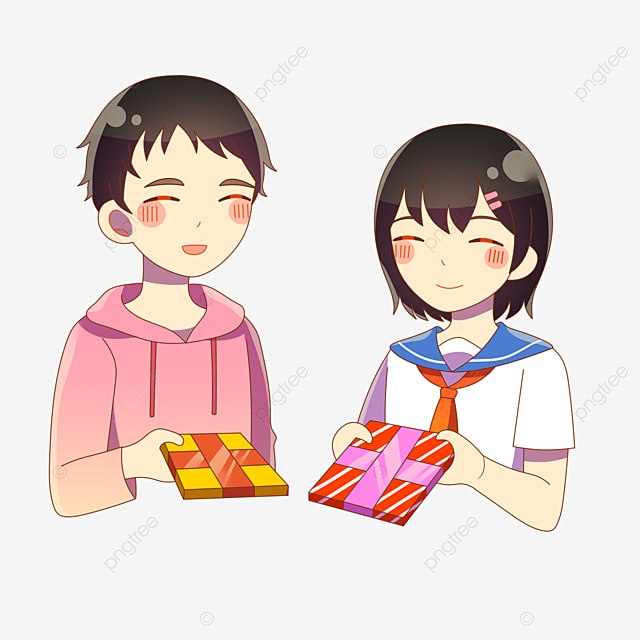 couple giving each other gifts on valentines day in japan