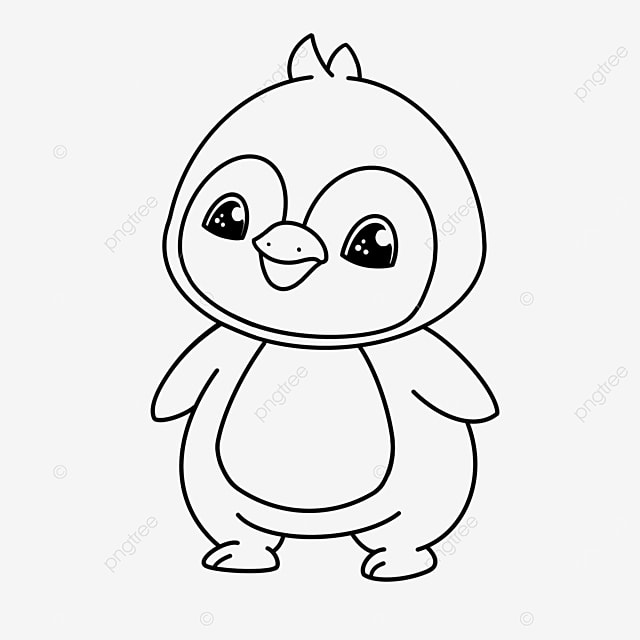 cute penguin clipart black and white