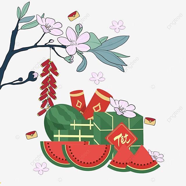 five blessings in vietnam spring festival watercolor border