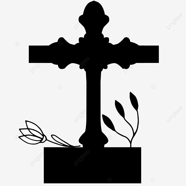 flower leaf worship cross clipart black and white