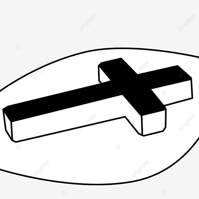 ground black and white three dimensional cross clip art