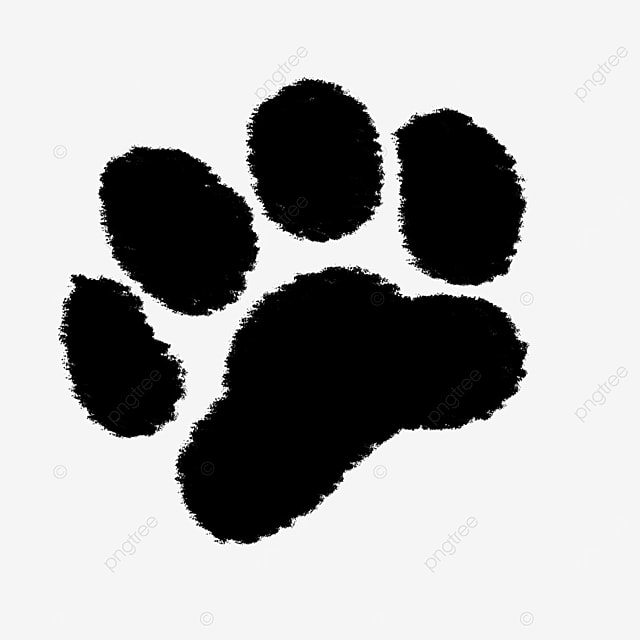 hairy animal black and white paw clipart