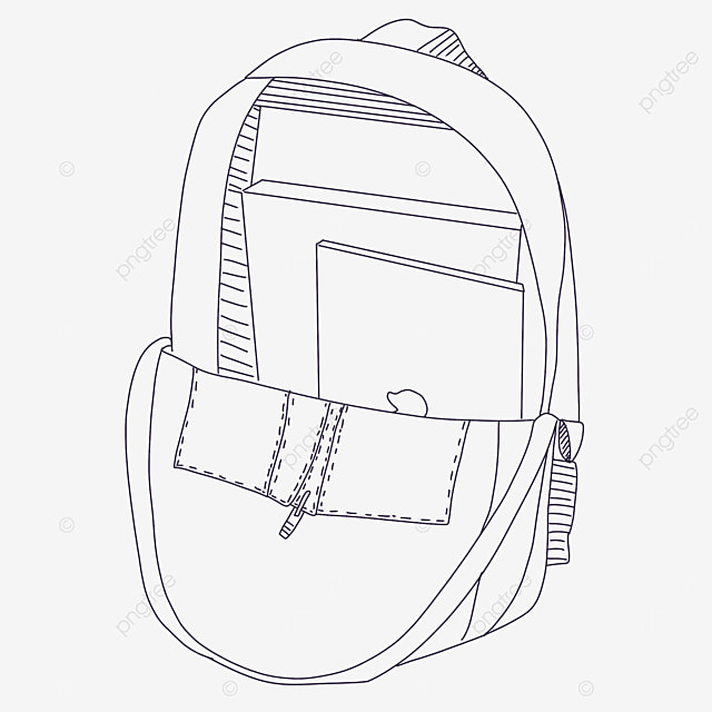 half open bag clipart black and white