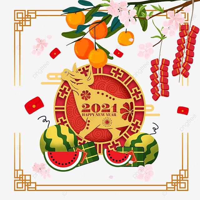 happy vietnam spring festival watercolor border