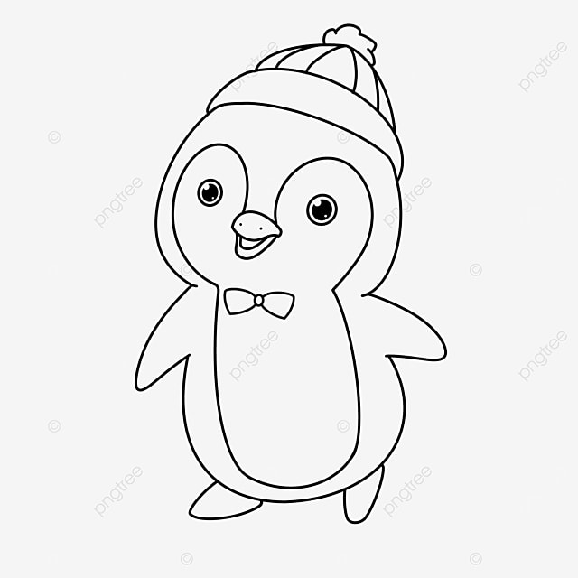 hat penguin clipart black and white