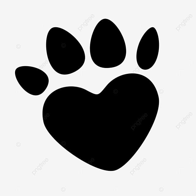 heart shaped cartoon animal footprints paw clipart