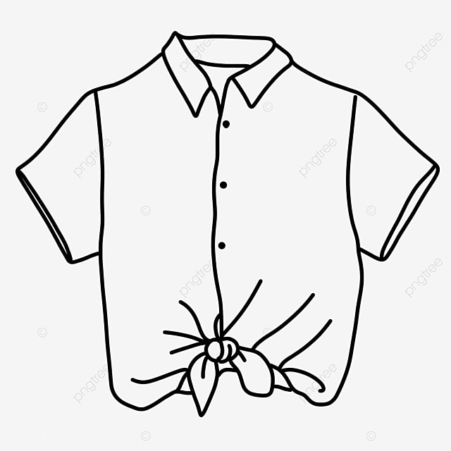 knotted short sleeved female dress shirt clipart black and white