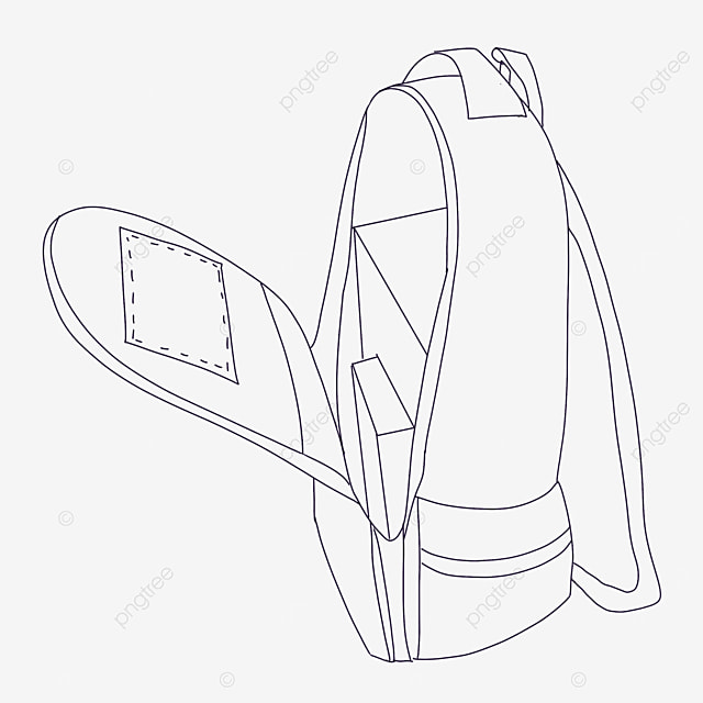 large capacity bag clipart black and white