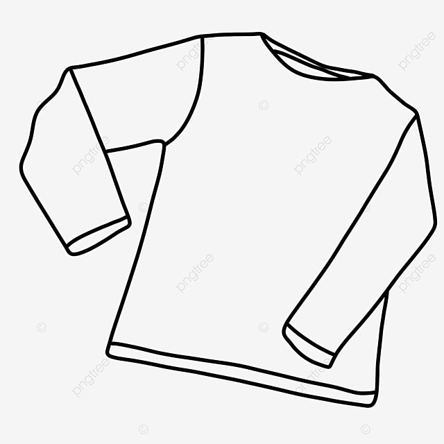 long sleeve autumn dress shirt clipart black and white