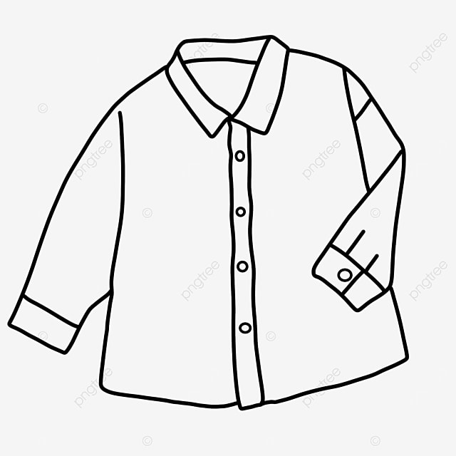 long sleeve button shirt clipart black and white