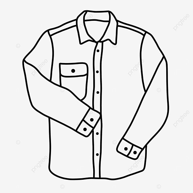long sleeve clothes male shirt clipart black and white