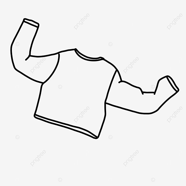 long sleeve warm autumn clothes shirt clipart black and white