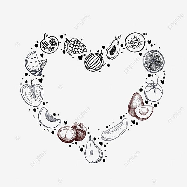 love round grape fruit lineart border