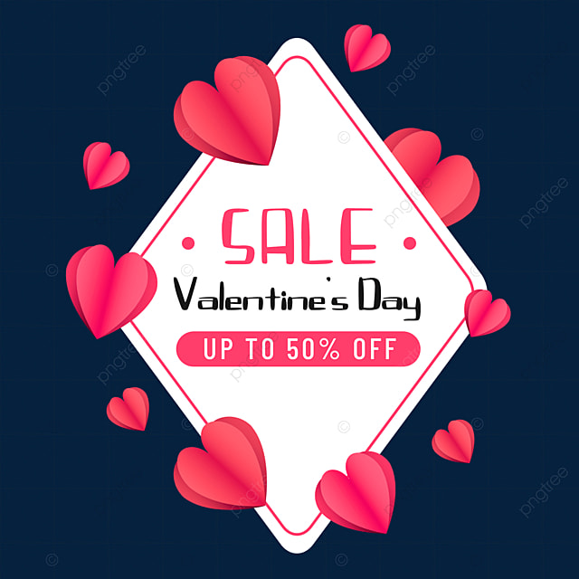 love valentines day promotional border offer paper cut