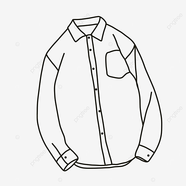 male casual comfortable shirt clipart black and white