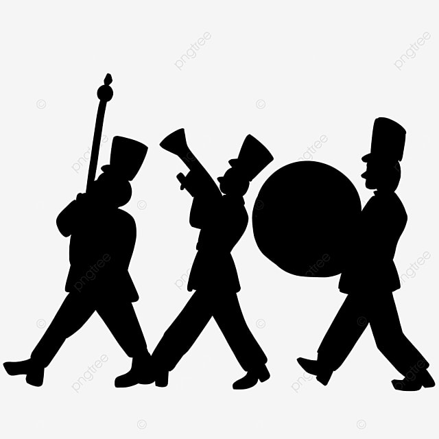 marching band black and white clipart