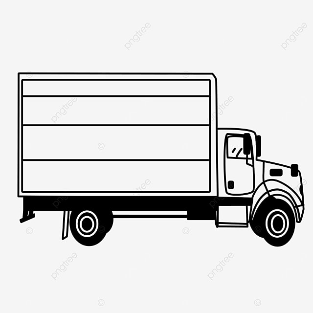 medium container truck truck clipart black and white