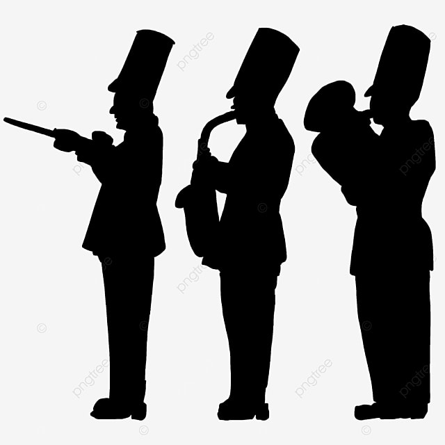 military band black and white characters clipart