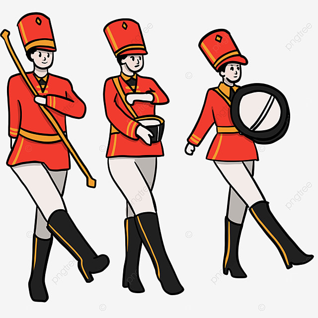military band colored figures clip art