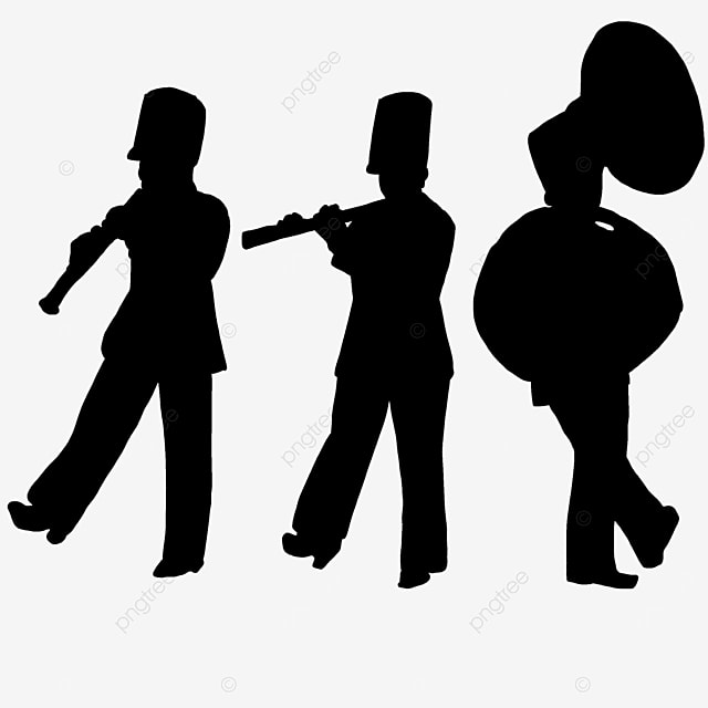 military band military band black and white characters clipart
