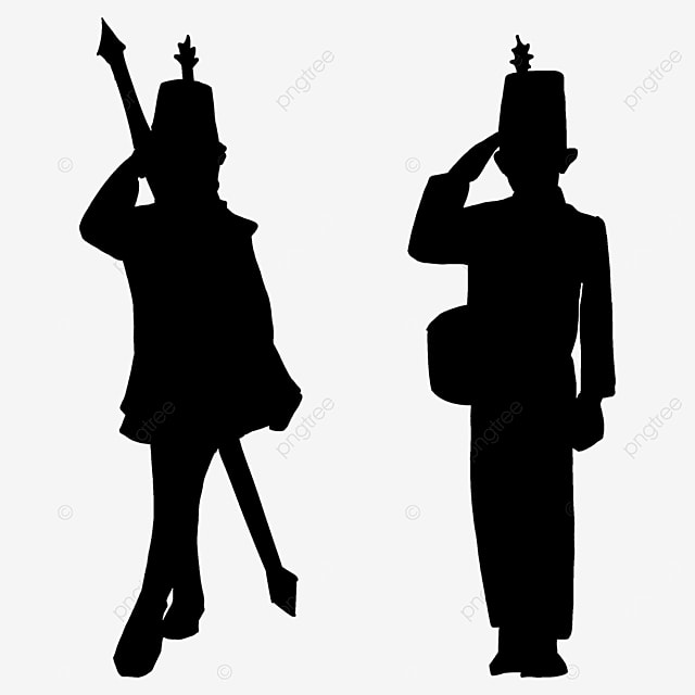 military band standing black and white clipart