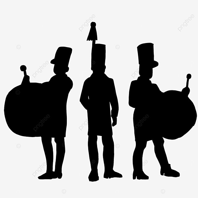 military band standing silhouette clipart