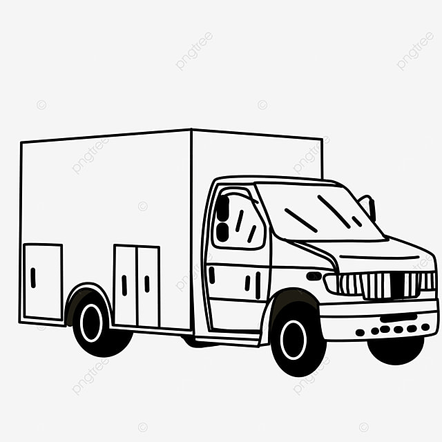 motor transport transportation lorry truck clipart black and white