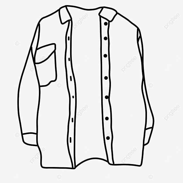 opened long sleeve dress shirt clipart black and white