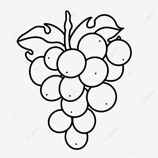 oval grape clipart black and white