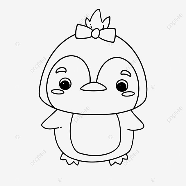 pigtail penguin clipart black and white