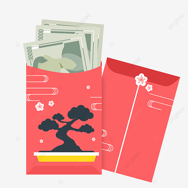 pine tree japanese new year red packet