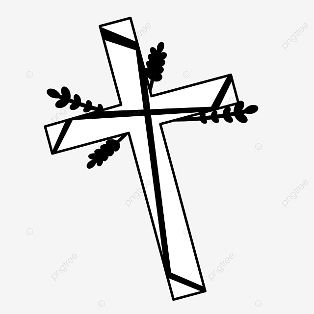 plant decoration left diagonally cross clipart black and white