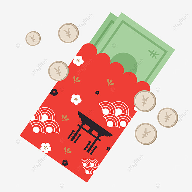 red lace japanese new year red envelope