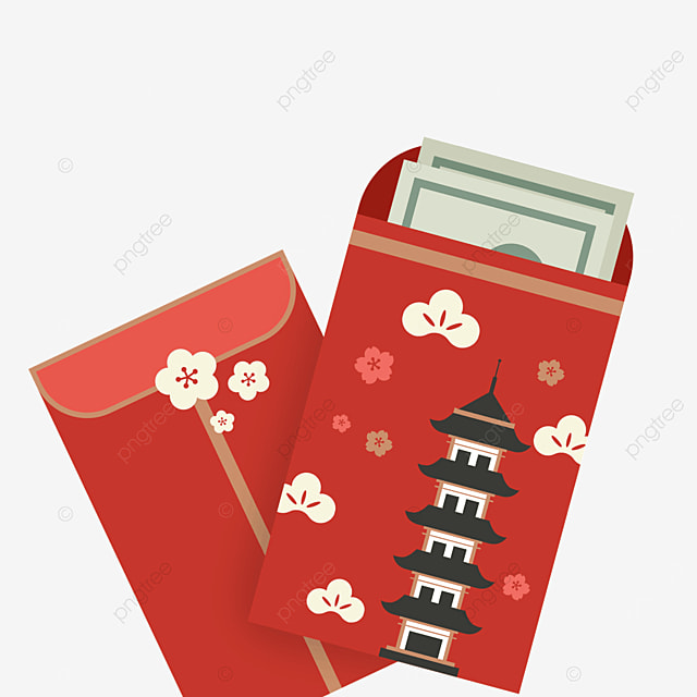 red pagoda japanese new year red envelope