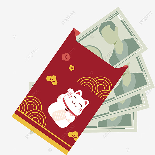 red shading japanese new year red envelope