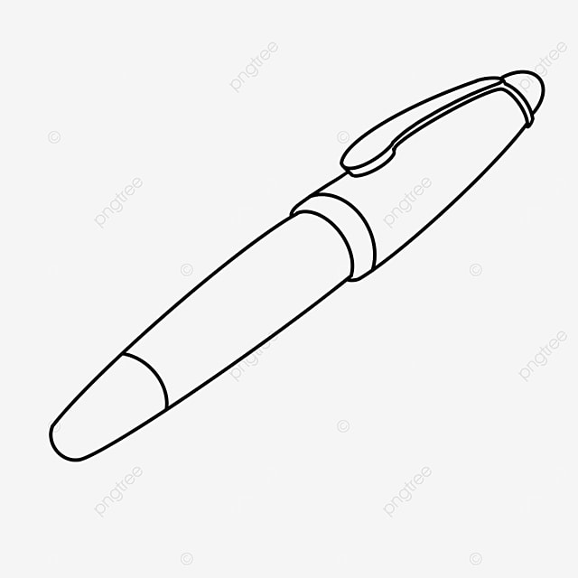 retro fountain pen clipart black and white