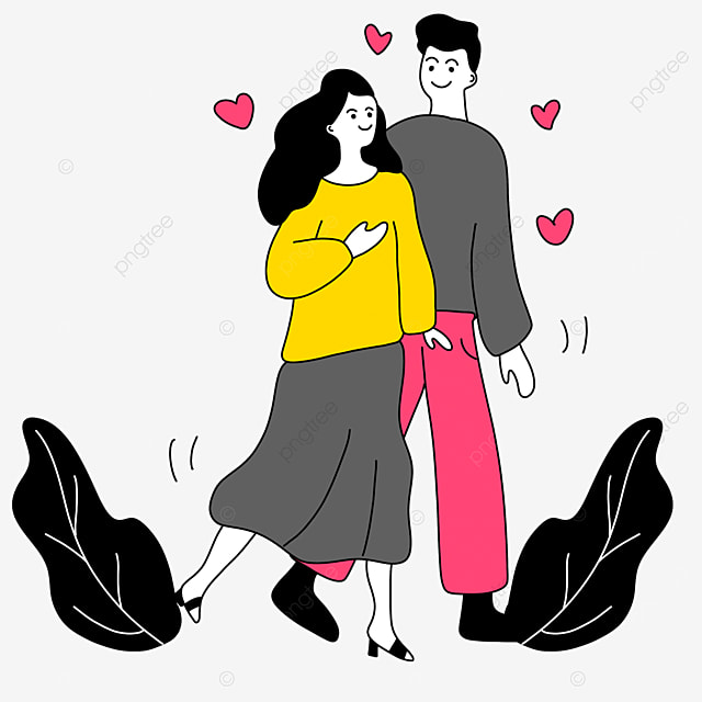 romantic couple interacting valentines day line character illustration