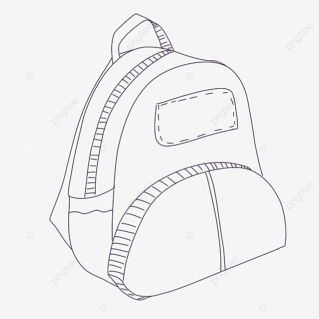 semicircle bag clipart black and white