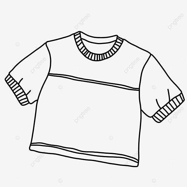 short sleeve round neck short shirt clipart black and white