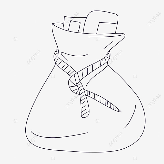 tether bag clipart black and white