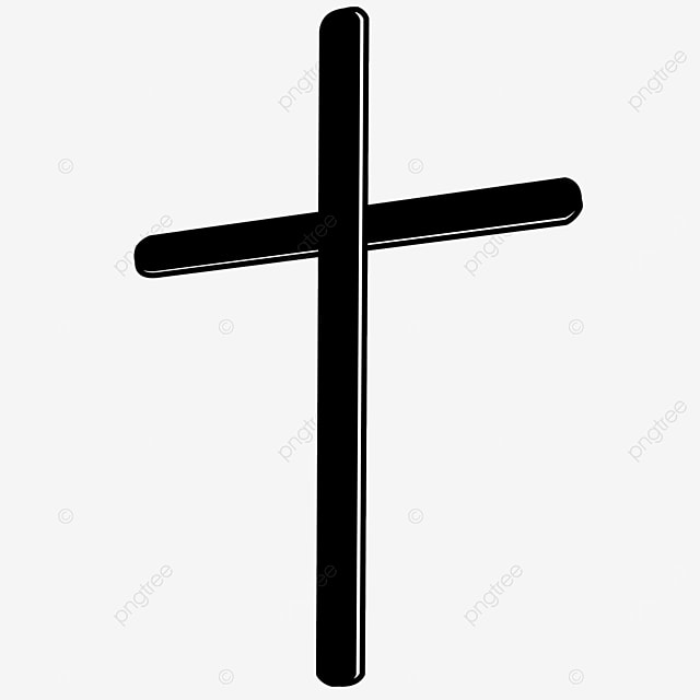 three dimensional slender black and white cross clipart
