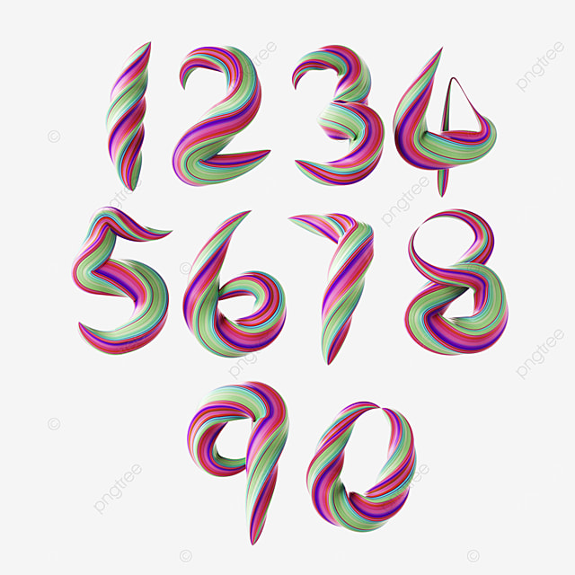 three dimensional twisted color gradient digital font