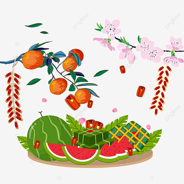 vietnam baiye prosperity spring festival watercolor border