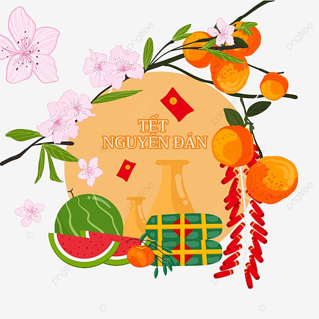 vietnam four seasons peaceful spring festival watercolor border