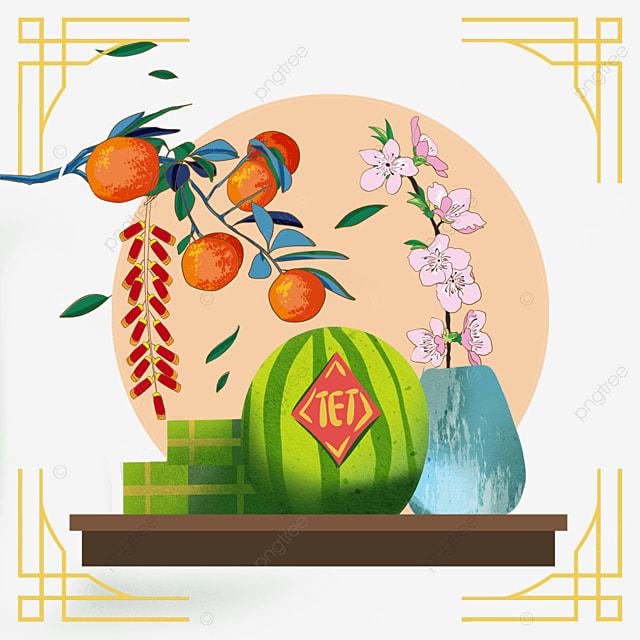 vietnam spring festival lucky star high luminous watercolor border
