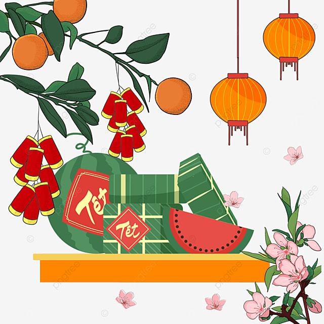 vietnam spring festival watercolor beaming border