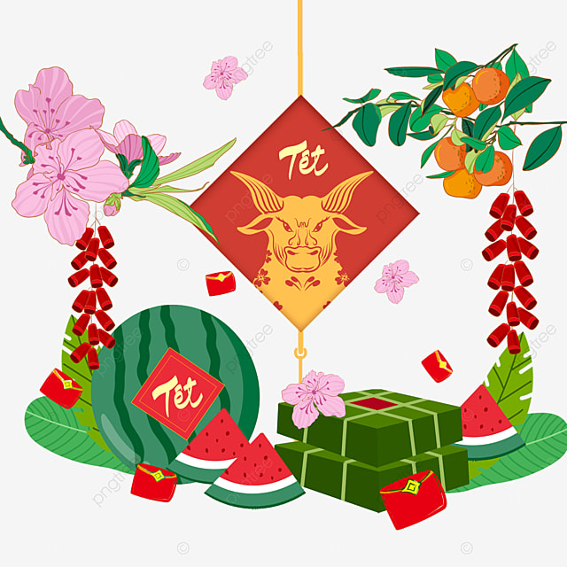 vietnamese spring festival beaming watercolor border